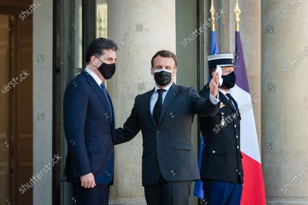 Stock Picture of The President of the French Republic Emmanuel Macron received Nechirvan Barzani, President of the Regional Government of Iraqi Kurdistan for a working lunch at the Elysee Palace.