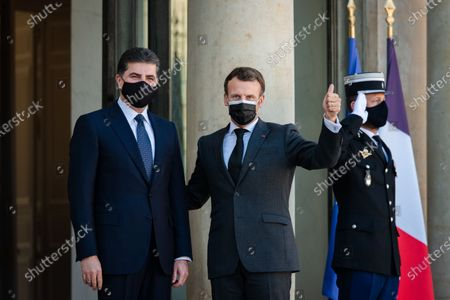 Stock Photo of The President of the French Republic Emmanuel Macron received Nechirvan Barzani, President of the Regional Government of Iraqi Kurdistan for a working lunch at the Elysee Palace.