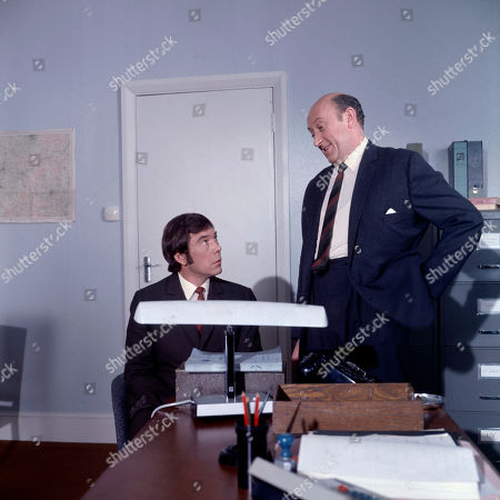 Jeff Randall, as played by Mike Pratt, and Inspector Large, as played by Ivor Dean