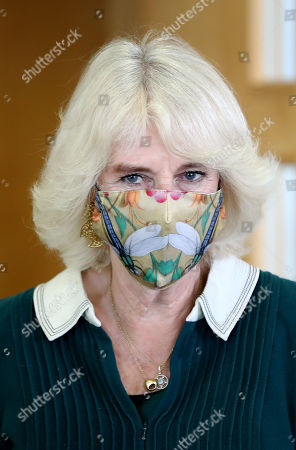 Stock Photo of Camilla Duchess of Cornwall during a visit to Fitzjohn's Food Bank and the Lewes Open Door charity at Christ's Church in Lewes, East Sussex.