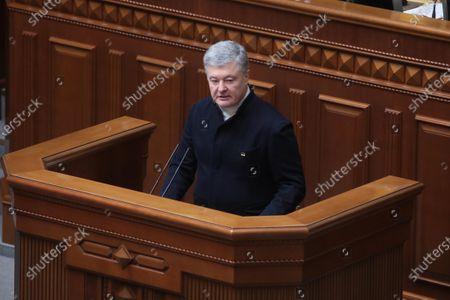 MP of Ukraine Petro Poroshenko speaks from the rostrum during the extraordinary sitting of the Ukrainian parliament, Kyiv, capital of Ukraine