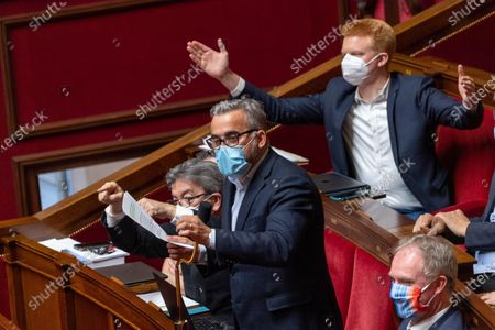 Stock Image of Alexis Corbiere and Adrien Quatnens during the weekly session of questions to the government at the French National Assembly.