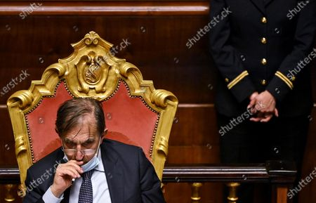 Stock Photo of Senator of Fratelli d'Italia Ignazio La Russa during a session at the Senate for the approval of a law on child benefit to introduce a single universal cheque for low-income families, Rome, Italy, 30 March 2021.