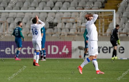 Stock Picture of Cyprus' players react after missing a scoring chance during the World Cup 2022 group H qualifying soccer match between Cyprus and Slovenia at GSP stadium in Nicosia, Cyprus