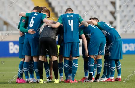 Slovenia's players in a huddle before the World Cup 2022 group H qualifying soccer match between Cyprus and Slovenia at GSP stadium in Nicosia, Cyprus
