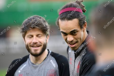 Lasse Schone (L) and Yussuf Poulsen (R) of Denmark during a training session in Vienna, Austria, 30 March 2021. Denmark will face Austria in their FIFA World Cup 2022 Group F qualifying soccer match on 31 March 2021.