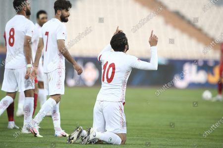 Stock Picture of Karim Ansarifard of Iran celebrates after scoring his sides third goal