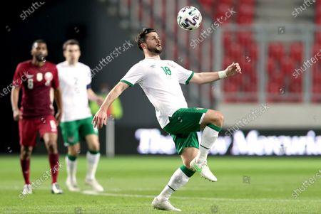 Qatar vs Republic of Ireland. Ireland's Shane Long
