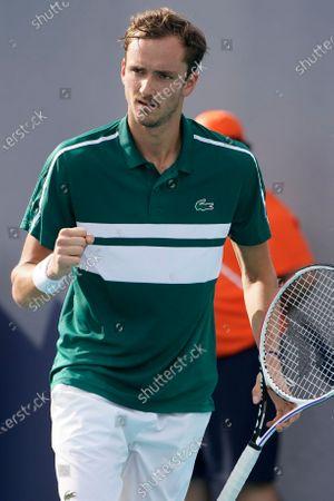 Daniil Medvedev of Russia, celebrates a point against Frances Tiafoe, during the Miami Open tennis tournament, in Miami Gardens, Fla