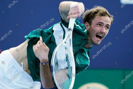 Daniil Medvedev of Russia serves to Frances Tiafoe, during the Miami Open tennis tournament, in Miami Gardens, Fla