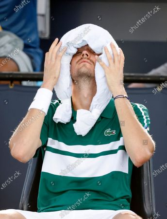 Daniil Medvedev of Russia ices his head between games against Frances Tiafoe of the USA during their Men's singles match at the Miami Open tennis tournament in Miami Gardens, Florida, USA, 30 March 2021.