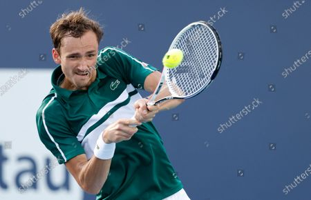 Daniil Medvedev of Russia in action against Frances Tiafoe of the USA during their Men's singles match at the Miami Open tennis tournament in Miami Gardens, Florida, USA, 30 March 2021.