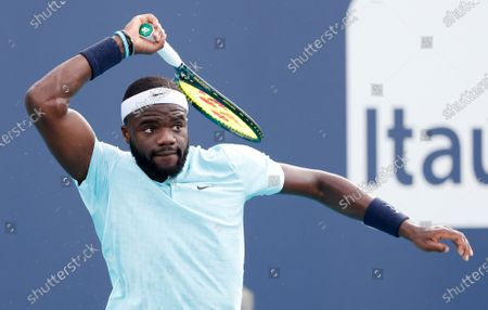Frances Tiafoe of the USA in action against Daniil Medvedev of Russia during their Men's singles match at the Miami Open tennis tournament in Miami Gardens, Florida, USA, 30 March 2021.