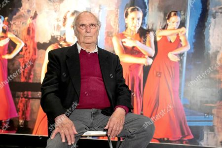 The filmmaker Carlos Saura attends the presentation of the exhibition 'Carlos Saura and Dance' at the Fernan Gomez Theater