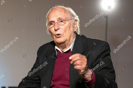 Stock Photo of The filmmaker Carlos Saura attends the presentation of the exhibition 'Carlos Saura and Dance' at the Fernan Gomez Theater