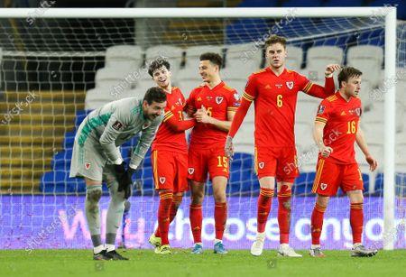 Wales goalkeeper Danny Ward, Neco Williams, Ethan Ampadu, Joe Rodon and Joe Morrell celebrate at the end of the match