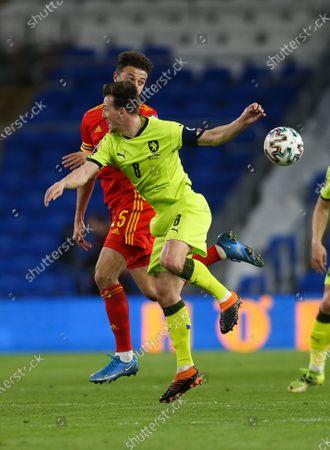 Vladimir Darida of Czech Republic wins the ball from Ethan Ampadu of Wales
