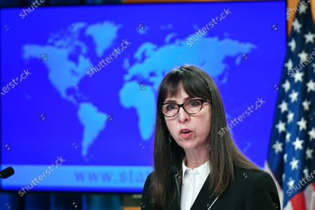 Stock Picture of Acting Assistant Secretary Lisa Peterson of the Bureau of Democracy, Human Rights, and Labor, speaks about the release of the '2020 Country Reports on Human Rights Practices,' at the State Department in Washington