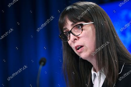 Stock Photo of Acting Assistant Secretary Lisa Peterson of the Bureau of Democracy, Human Rights, and Labor, speaks about the release of the '2020 Country Reports on Human Rights Practices,' at the State Department in Washington