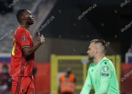 Belgium's Christian Benteke celebrates after scoring the 6-0 during the FIFA World Cup 2022 qualifying soccer match between Belgium and Belarus in Leuven, Belgium, 30 March 2021.
