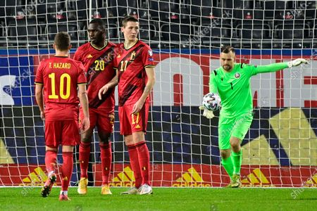 Belgium's Christian Benteke celebrates after scoring the 6-0 goal during a qualification game for the World Cup 2022 in the group E between the Belgian national team Red Devils and Belarus (third out of eight games), Tuesday 30 March 2021 in Leuven.