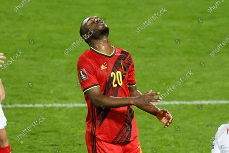 Belgium's Christian Benteke reacts during a qualification game for the World Cup 2022 in the group E between the Belgian national team Red Devils and Belarus (third out of eight games), Tuesday 30 March 2021 in Leuven.