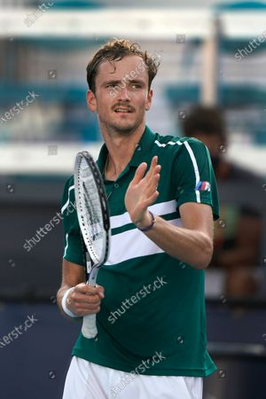 Stock Picture of Daniil Medvedev, of Russia, celebrates after he beat Frances Tiafoe 6-4, 6-3 during the Miami Open tennis tournament, in Miami Gardens, Fla