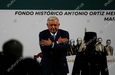 Mexican President Andres Manuel Lopez Obrador speaks during a news conference marking the 100th day of his third year in office, at the National Palace in Mexico City