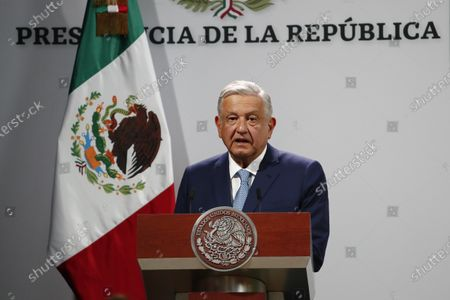 Mexican President Andres Manuel Lopez Obrador addresses the crowd on the 100th day of his third year of tenure, at the National Palace in Mexico City, Mexico, 30 March 2021.