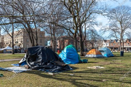 Tents of homeless people in Alexandra Park in Bathurst Street