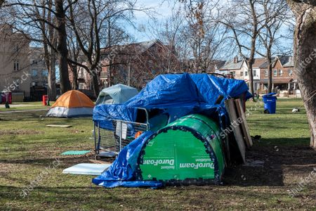 Stock Picture of Tents of homeless people in Alexandra Park in Bathurst Street