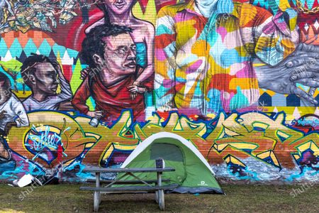 Stock Image of Tents of homeless people in Alexandra Park in Bathurst Street
