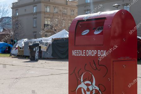 Tents of homeless people and a needles drop box in Alexandra Park in Bathurst Street