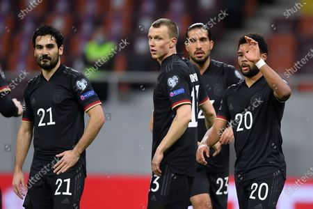 Lukas Klostermann, Serge Gnabry, Emre Can and Ilkay Gündogan celebrate during the game between Romania an Germany, in the World Cup 2022 Qualifiers, at National Arena Bucharest on March 28, 2021 in Bucharest, Romania.
