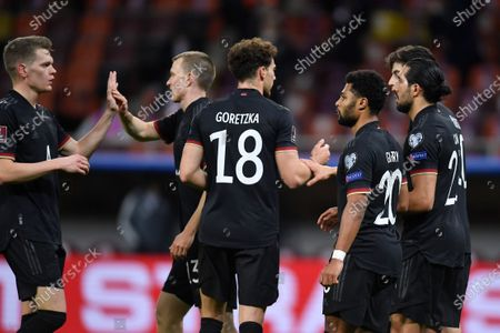 Matthias Ginter, Leon Goretzka, Lukas Klostermann, Serge Gnabry, Emre Can and Ilkay Gündogan celebrate during the game between Romania an Germany, in the World Cup 2022 Qualifiers, at National Arena Bucharest on March 28, 2021 in Bucharest, Romania.