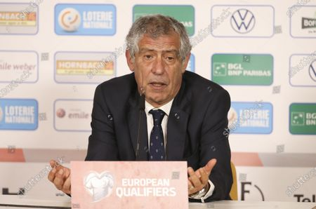Stock Image of Coach of Portugal Fernando Santos answers to the media