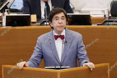 Walloon Minister President Elio Di Rupo pictured during a plenary session of the Walloon Parliament in Namur, this morning deputies will discuss the measures decided by the concertation commitee of last Match 24th to fight the Covid-19 pandemy in Belgium, Wednesday 31 March 2021.