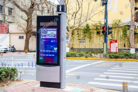 """Editorial picture of Multifunctional """"urban sockets"""" are put into use, and """"electric plug-in boards""""-style street signs are piloted in urban areas, Zhengzhou, China - 10 Mar 2021"""