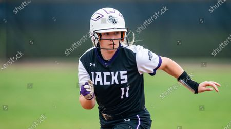 Stephen F. Austin's Amanda Carden leads off of second during an NCAA softball game against Lamar, in Nacogdoches, Texas. Stephen F. Austin won 9-1