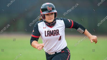 Lamar's Hannah Kinkade leads off of first during an NCAA softball game against Stephen F. Austin, in Nacogdoches, Texas. Stephen F. Austin won 9-1