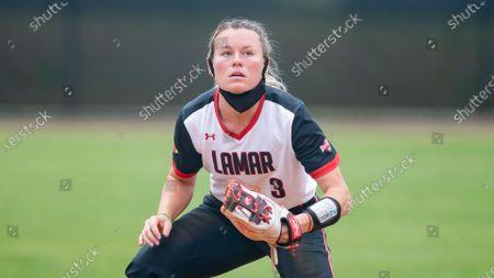 Lamar's Hannah Carpenter catches a throw during an NCAA softball game against Stephen F. Austin, in Nacogdoches, Texas. Stephen F. Austin won 9-1