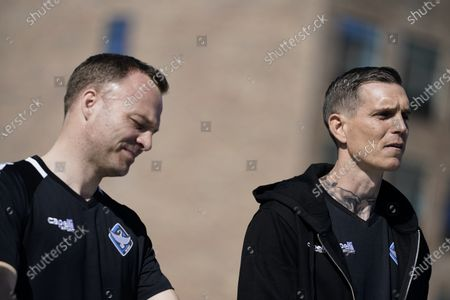 Former captain of Denmark's national team and Liverpool FC player, Daniel Agger (R) and former national team and West Ham player Lars Jacobsen are presented as new coaches of Danish 1st Division soccer team HB Koege at a press conference in Koege, Denmark, 31 March 2021.