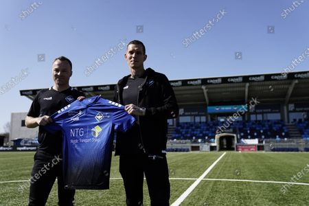 Stock Photo of Former captain of Denmark's national team and Liverpool FC player, Daniel Agger (R) and former national team and West Ham player Lars Jacobsen are presented as new coaches of Danish 1st Division soccer team HB Koege at a press conference in Koege, Denmark, 31 March 2021.