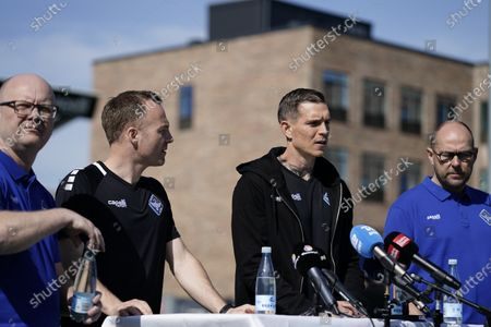 Former captain of Denmark's national team and Liverpool FC player, Daniel Agger (C-R) and former national team and West Ham player Lars Jacobsen (C-L) are presented as new coaches of Danish 1st Division soccer team HB Koege at a press conference in Koege, Denmark, 31 March 2021.