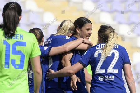 Stock Photo of Samantha Kerr of Chelsea (2-R) celebrates with her teammates after scoring during the UEFA Women's Champions League quarterfinal second leg soccer match Vfl Wolfsburg vs Chelsea in the Ferenc Szusza Stadium in Budapest, Hungary, 31 March 2021.