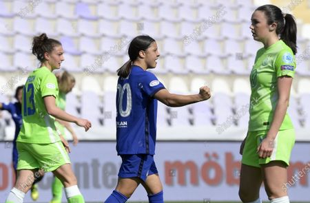 Stock Image of Samantha Kerr of Chelsea (C) celebrates after scoring during the UEFA Women's Champions League quarterfinal second leg soccer match Vfl Wolfsburg vs Chelsea in the Ferenc Szusza Stadium in Budapest, Hungary, 31 March 2021.