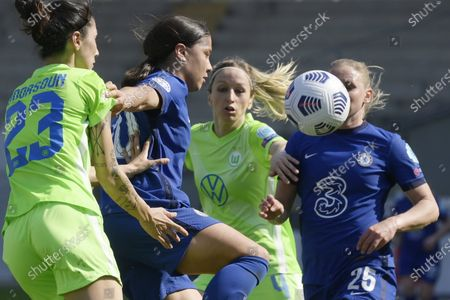 Samantha Kerr (2-L) and Jonna Andersson (R) of Chelsea in action against Sara Doorsoun-Khajeh (L) and Anna Blasse (2-R) of Vfl Wolfsburg during the UEFA Women's Champions League quarterfinal second leg soccer match Vfl Wolfsburg vs Chelsea in the Ferenc Szusza Stadium in Budapest, Hungary, 31 March 2021.