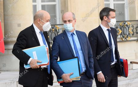 French Foreign Minister Jean-Yves Le Drian, French Education, Youth and Sports Minister Jean-Michel Blanquer and French Health and Social Affairs Minister Olivier Veran
