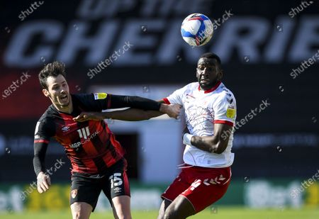 Yannick Bolasie of Middlesbrough under pressure from Adam Smith of AFC Bournemouth