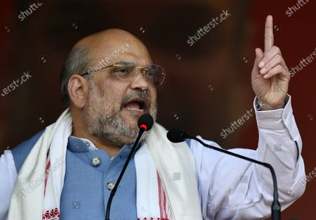 Indian Home Minister Amit Shah addresses a Bharatiya Janata Party (BJP) election rally in Sonapur in Kamrup (metro) district of Assam, India, 31 Marth 2021. Assembly elections in the Indian state of Assam are scheduled to be held from 27 March to 06 April in three phases and results will be announced on 02 May 2021.